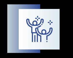 niebieska ikona przedstawiająca dwoje ludzi z rękami w górze