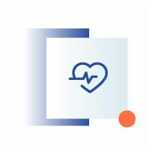 niebieska ikona przedstawiająca tarczę bicie serca