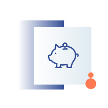 niebieska ikona przedstawiająca skarbonkę